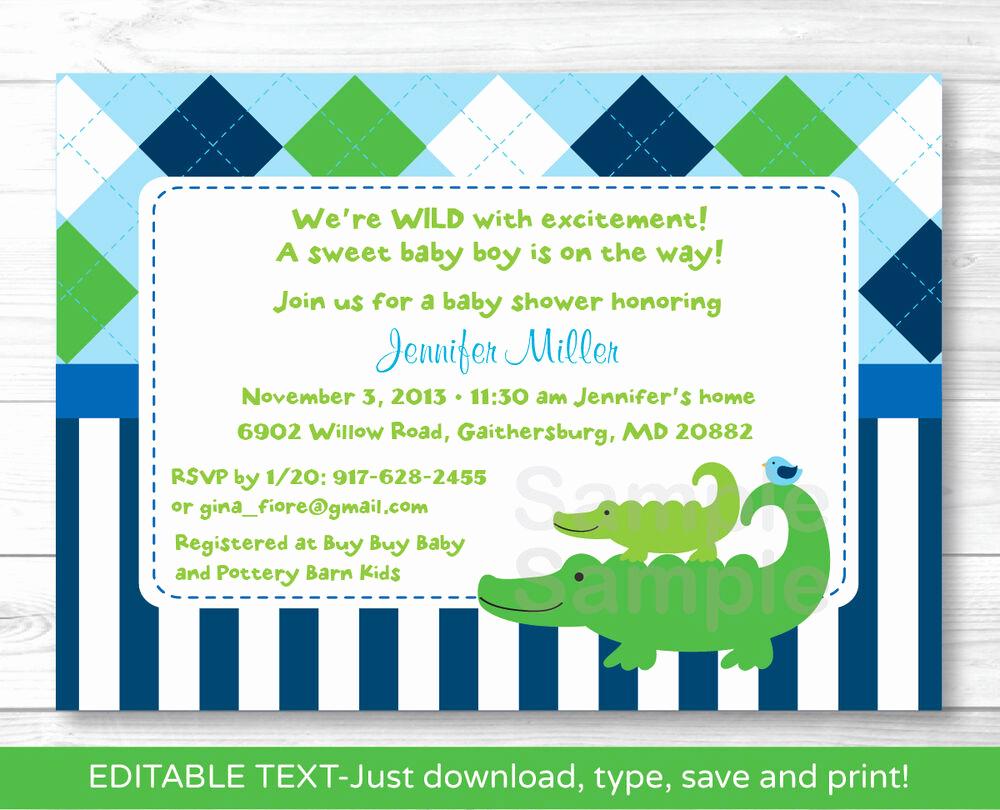 Baby Shower Invitation Free Printable Unique Preppy Alligator Argyle Printable Baby Shower Invitation