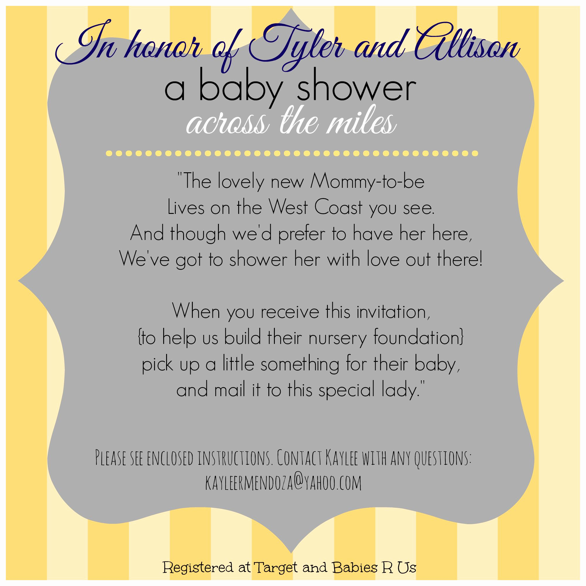 Baby Shower Invitation Ideas Awesome Long Distance Baby Shower Invitation Virtual Baby Shower