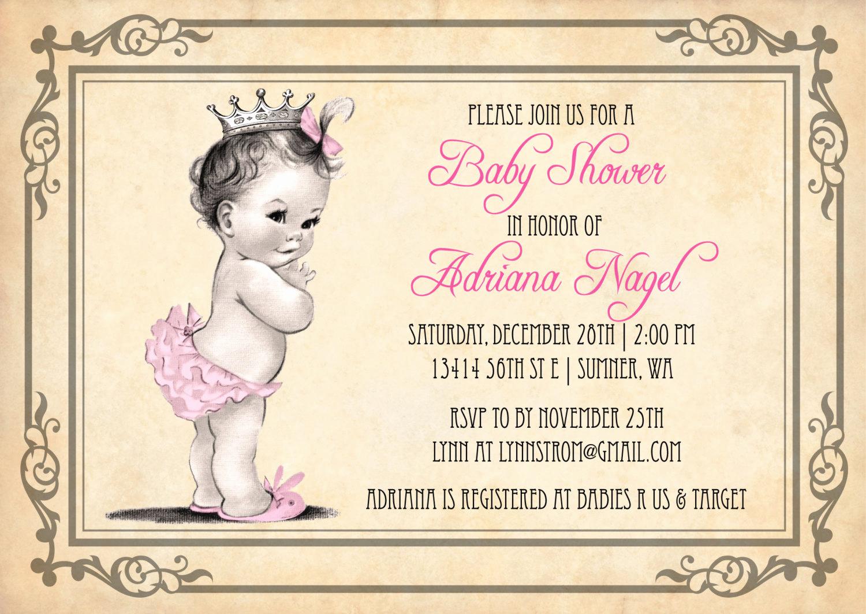 Baby Shower Invitation Ideas Beautiful Princess Baby Shower Invitation Girl Vintage Princess Baby