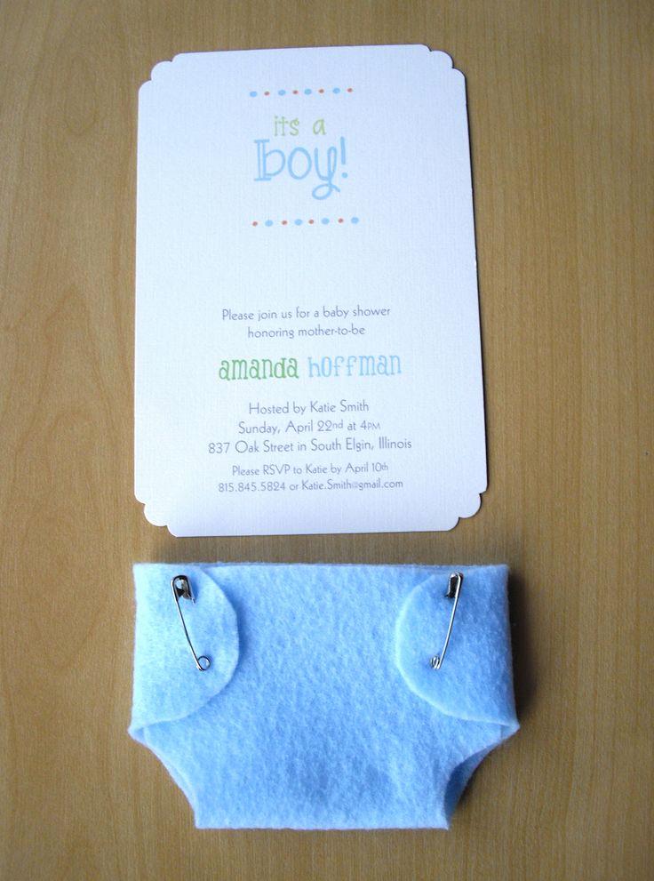 Baby Shower Invitation Ideas Fresh Boy Baby Shower Invitations Blue Diaper Felt and
