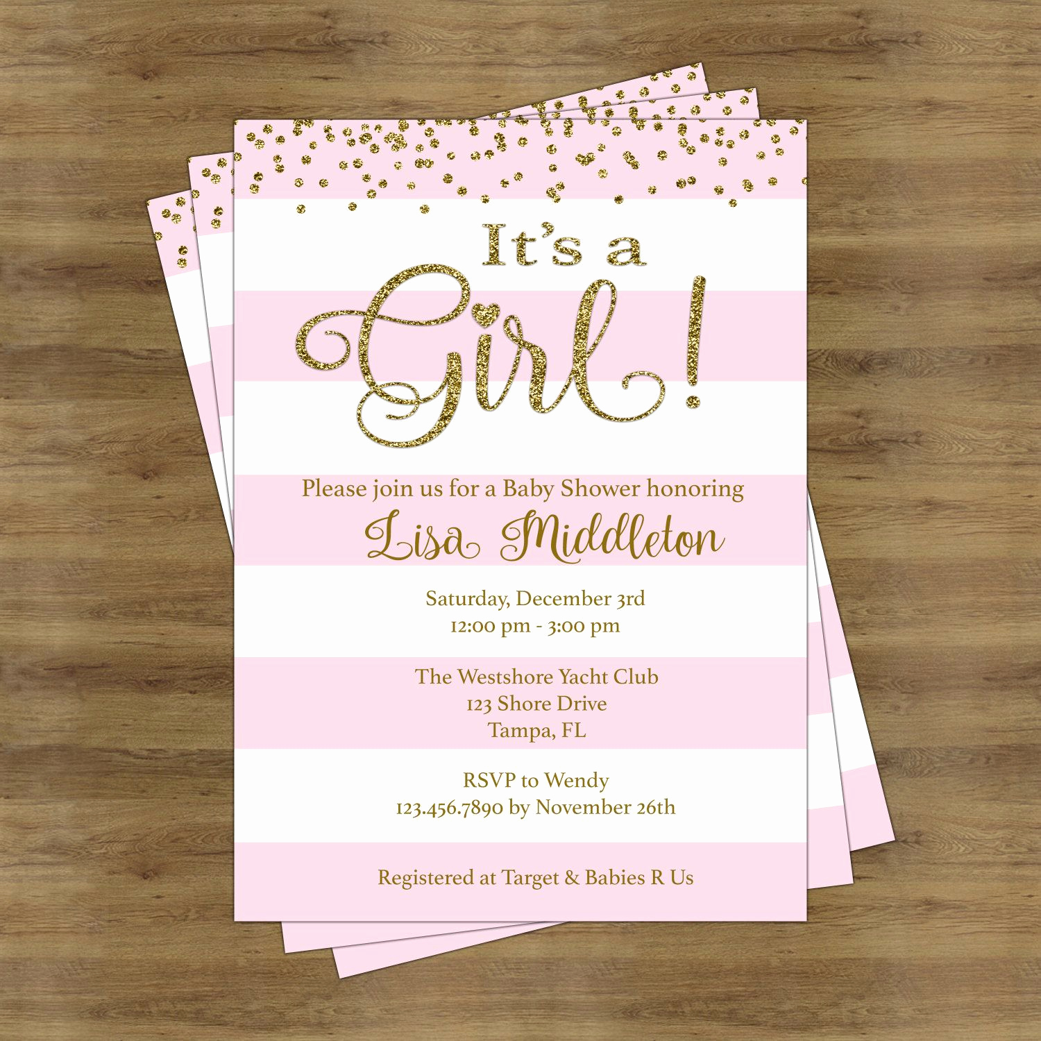 Baby Shower Invitation Ideas Girl Awesome Pink and Gold Baby Shower Invites Its A Girl Baby Shower