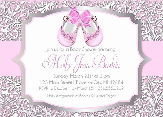 Baby Shower Invitation Ideas Girl Inspirational Baby Shoes Printable Baby Shower Invitation for Girl