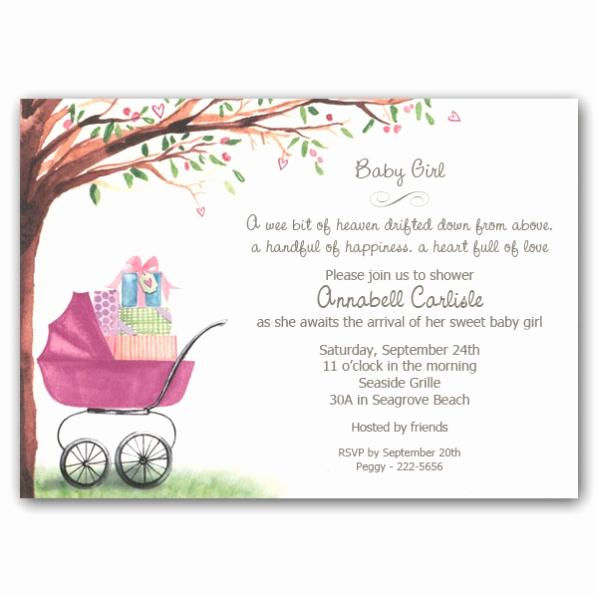 Baby Shower Invitation Ideas Girl Unique Foliage Girl Carriage Baby Shower Invitations Clearance