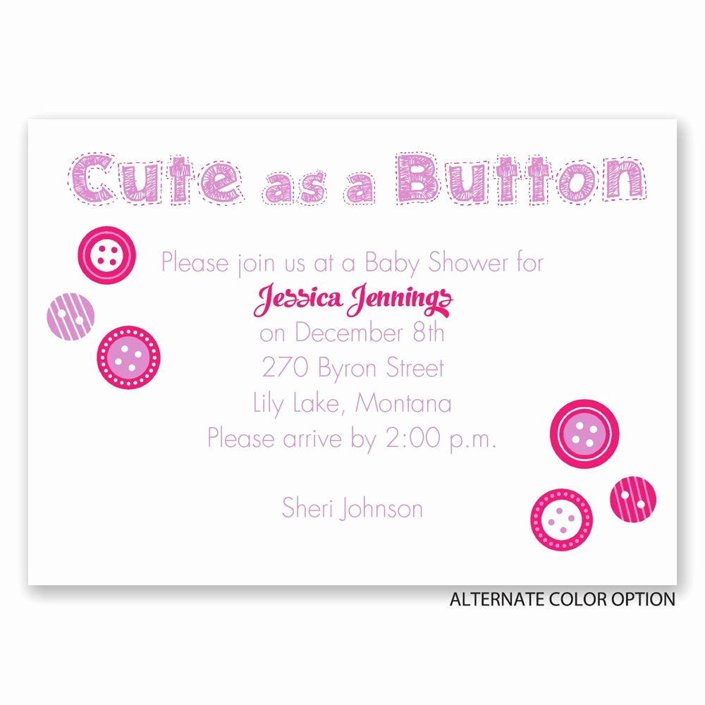 Baby Shower Invitation Images New Cute as A button Mini Baby Shower Invitation