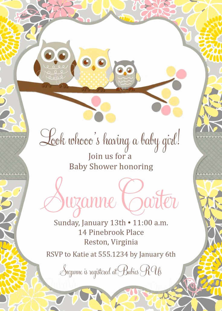 Baby Shower Invitation Images Unique Baby Girl Owl Shower Invitation Printable Owl Baby