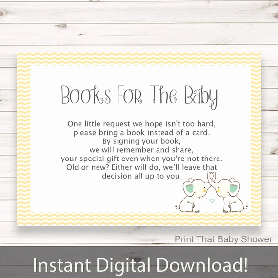 Baby Shower Invitation Inserts Best Of Baby Shower Invitation Insert Yellow Elephant Books for Baby
