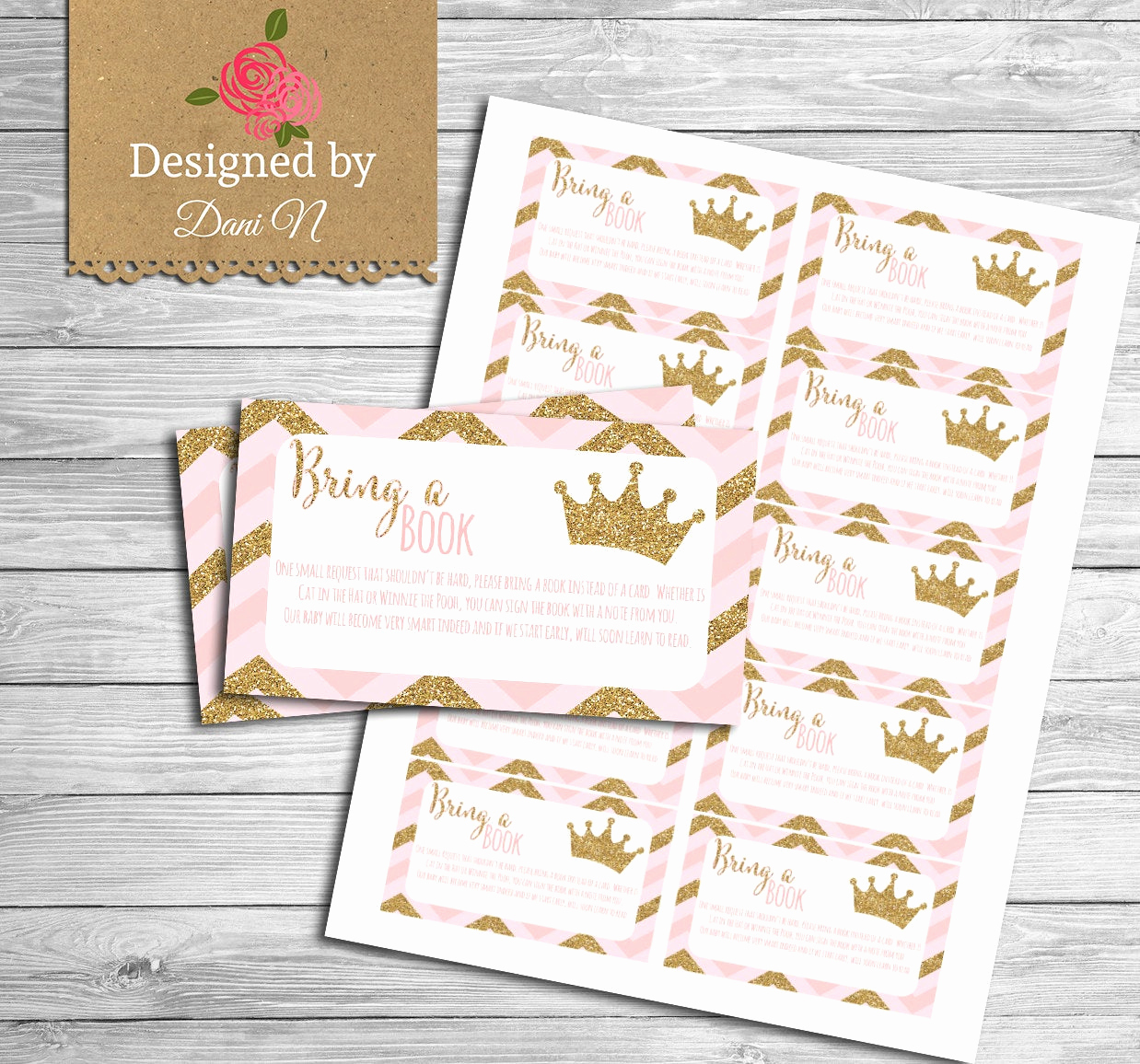 Baby Shower Invitation Inserts Best Of Bring A Book Baby Shower Insert Princess Baby Shower Pink