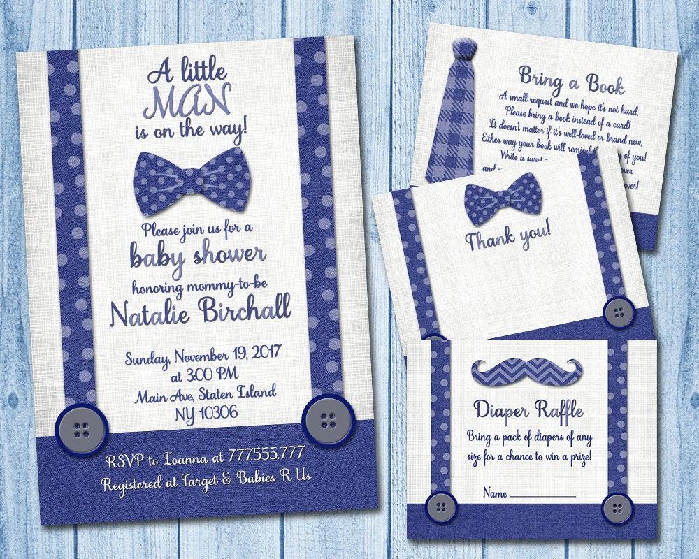 Baby Shower Invitation Inserts Lovely Little Man Baby Shower Invitation with Inserts Boy Invite Set