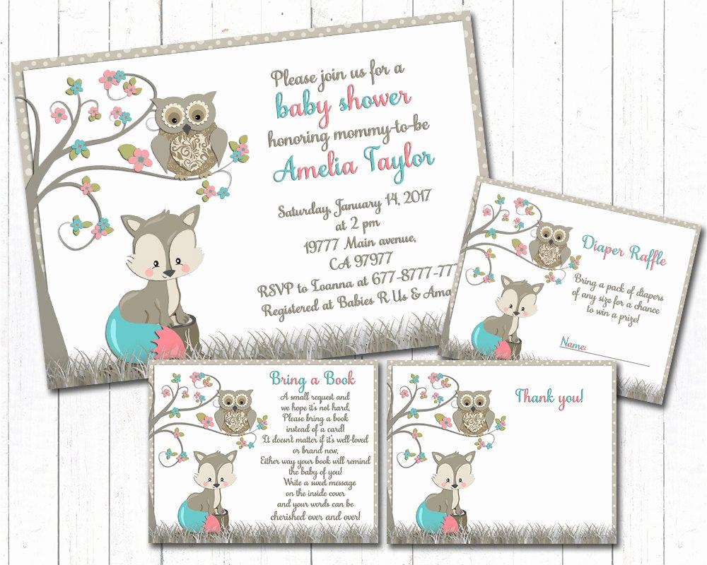 Baby Shower Invitation Inserts Luxury Baby Shower Invitation Set with Inserts Fox Owl Baby Girl