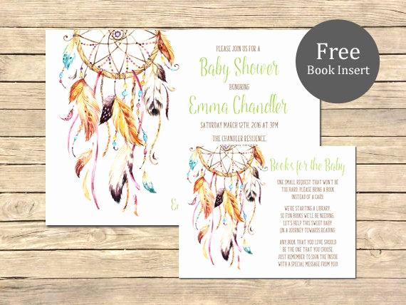 Baby Shower Invitation Inserts Luxury Dreamcatcher Baby Shower Printable Invitation & Book Insert