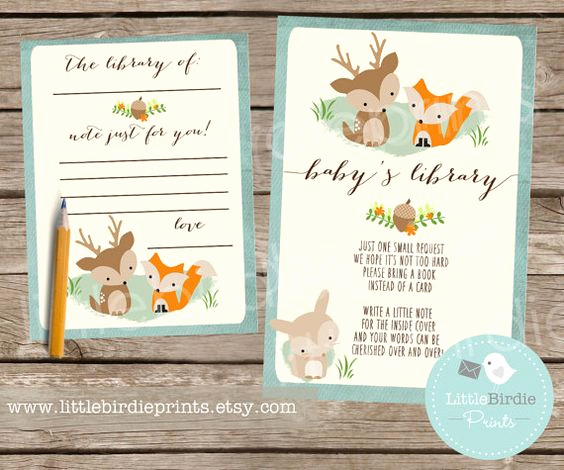 Baby Shower Invitation Inserts New This Woodland Baby Shower Card and Bookplate Set Make A