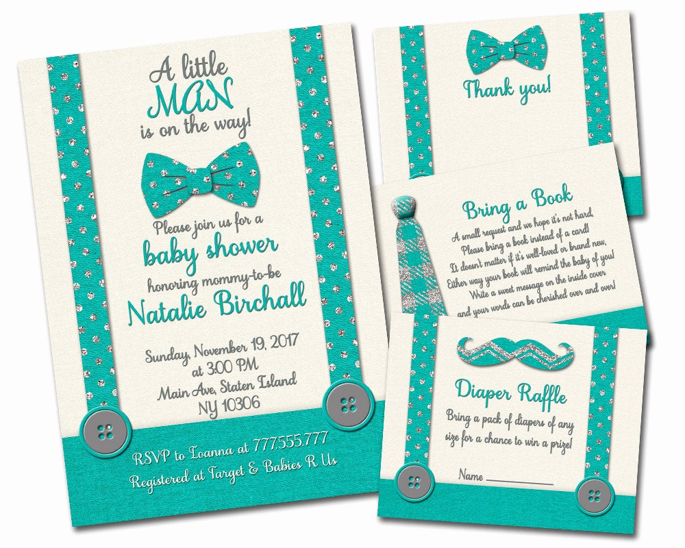 Baby Shower Invitation Inserts Unique Little Man Baby Shower Invitation with Inserts Boy Invite Set