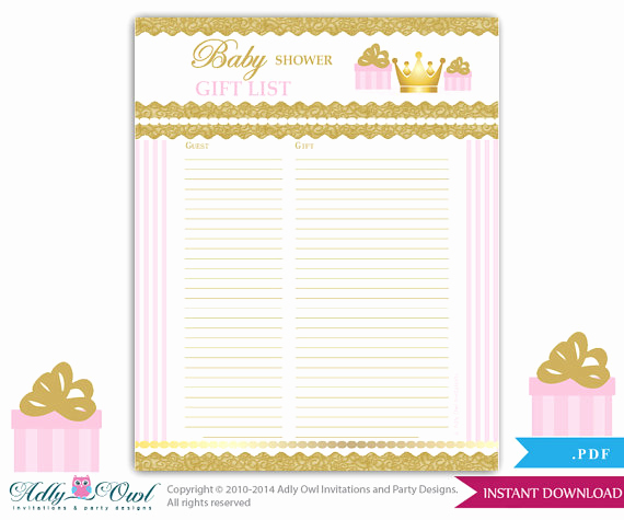 Baby Shower Invitation List Best Of Girl Princess Guest Gift List Guest Sign In Sheet Card for