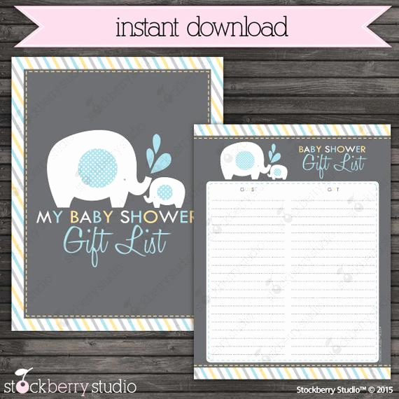 Baby Shower Invitation List Elegant Boy Elephant Baby Shower Guest Gift List Printable Blue