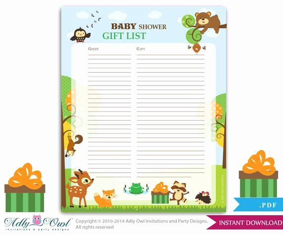 Baby Shower Invitation List Elegant forest Animals Guest Gift List Guest Sign In Sheet Card