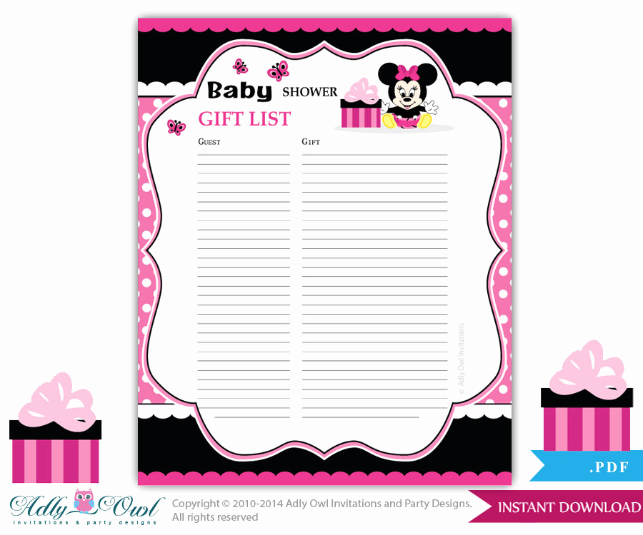 Baby Shower Invitation List Elegant Girl Minnie Mouse Guest Gift List Guest Sign In Sheet Card