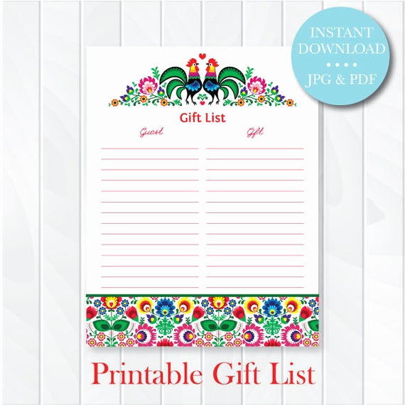 Baby Shower Invitation List Fresh Fiesta Gift List Printable Guest List Wedding Bridal