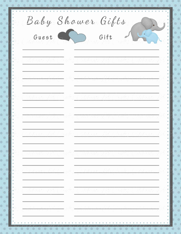 Baby Shower Invitation List Luxury Baby Shower Gift List Template 5 Free Sample Example