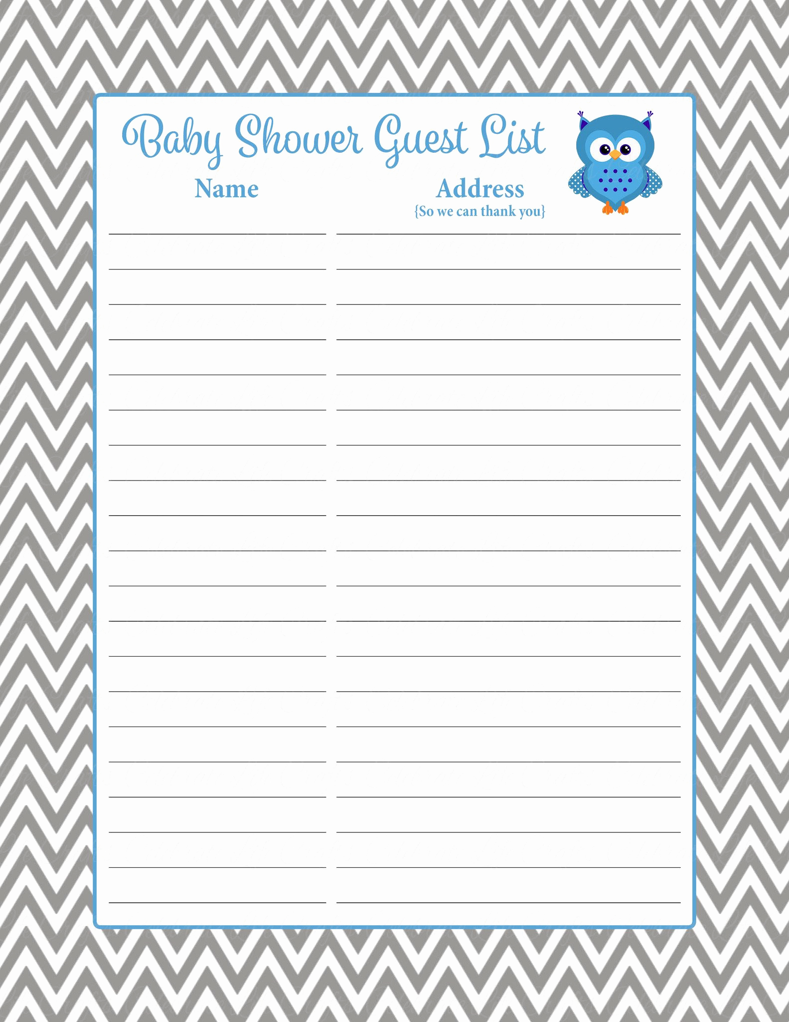 Baby Shower Invitation List Luxury Baby Shower Guest List Set Owl Baby Shower theme for