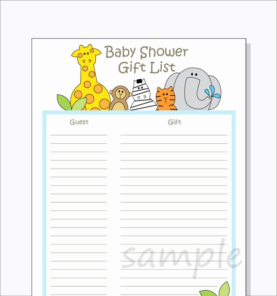 Baby Shower Invitation List Luxury Diy Baby Shower Guest Gift List Printable Jungle Animals