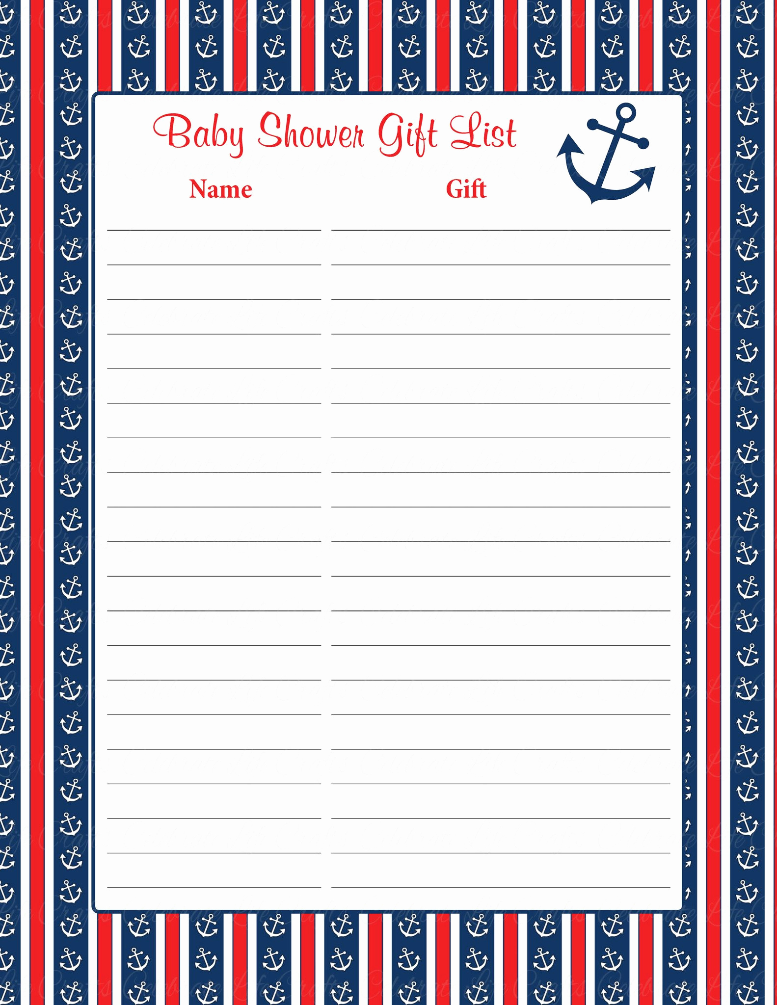 Baby Shower Invitation List New Baby Shower Gift List Nautical Baby Shower theme for