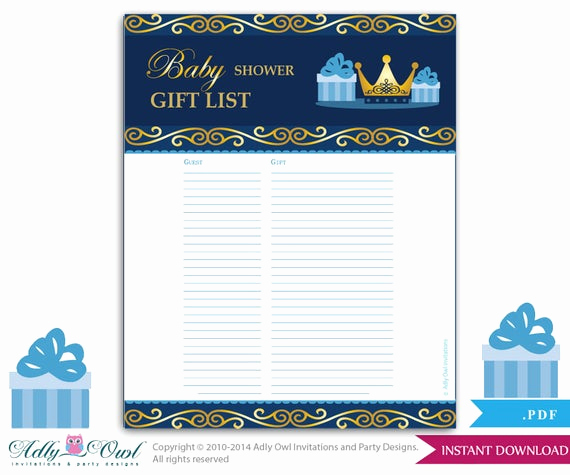 Baby Shower Invitation List New Boy Prince Guest Gift List Guest Sign In Sheet Card for
