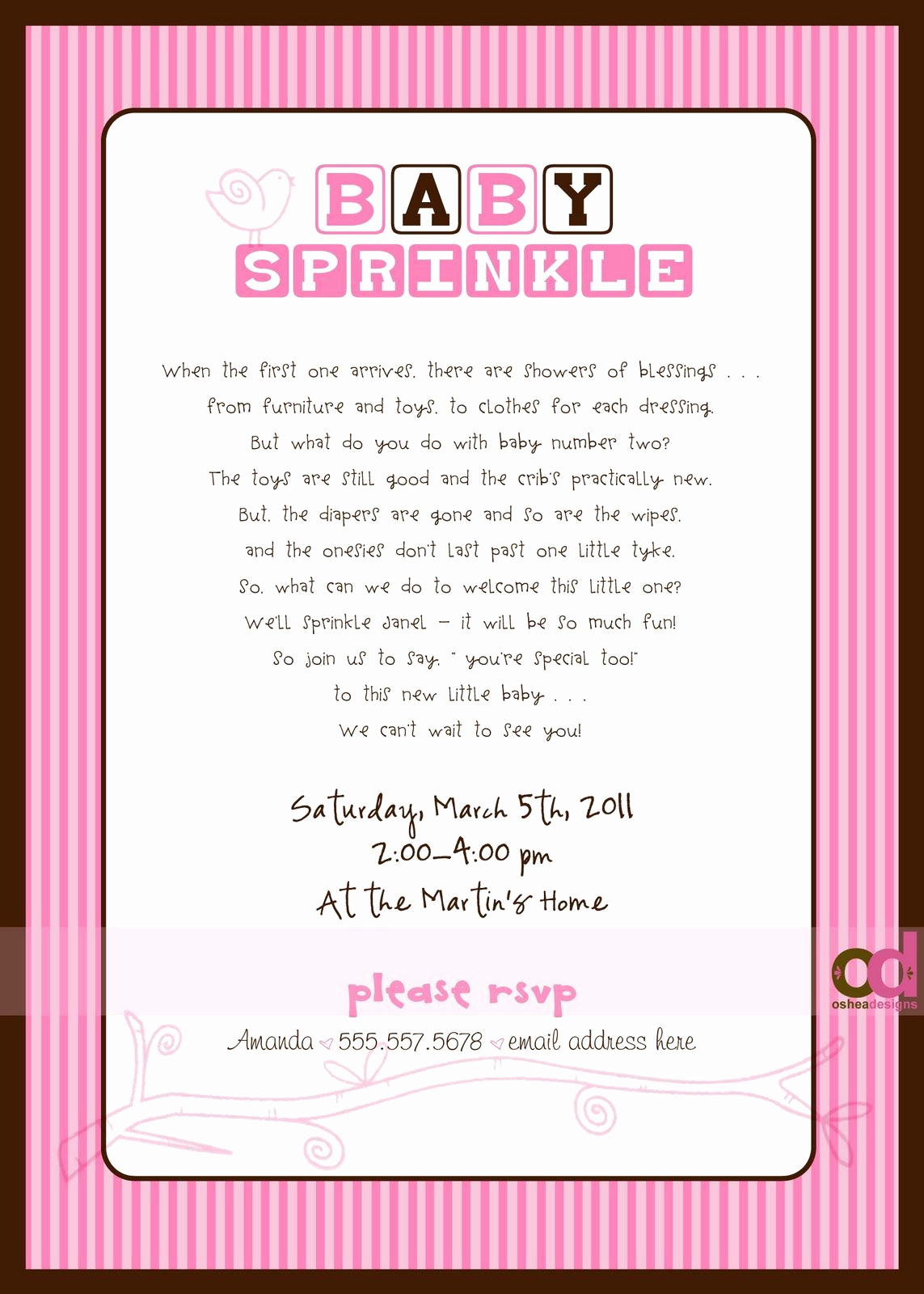 "Baby Shower Invitation Message Elegant ""sprinkle"" Invitations Wording Wish I Would Have Found"
