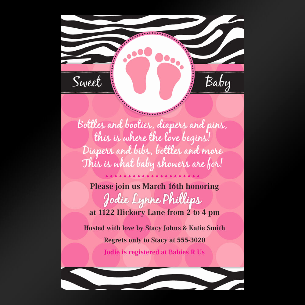 Baby Shower Invitation Pics Awesome Mod Pink Zebra Print Printable Baby Shower or Birthday