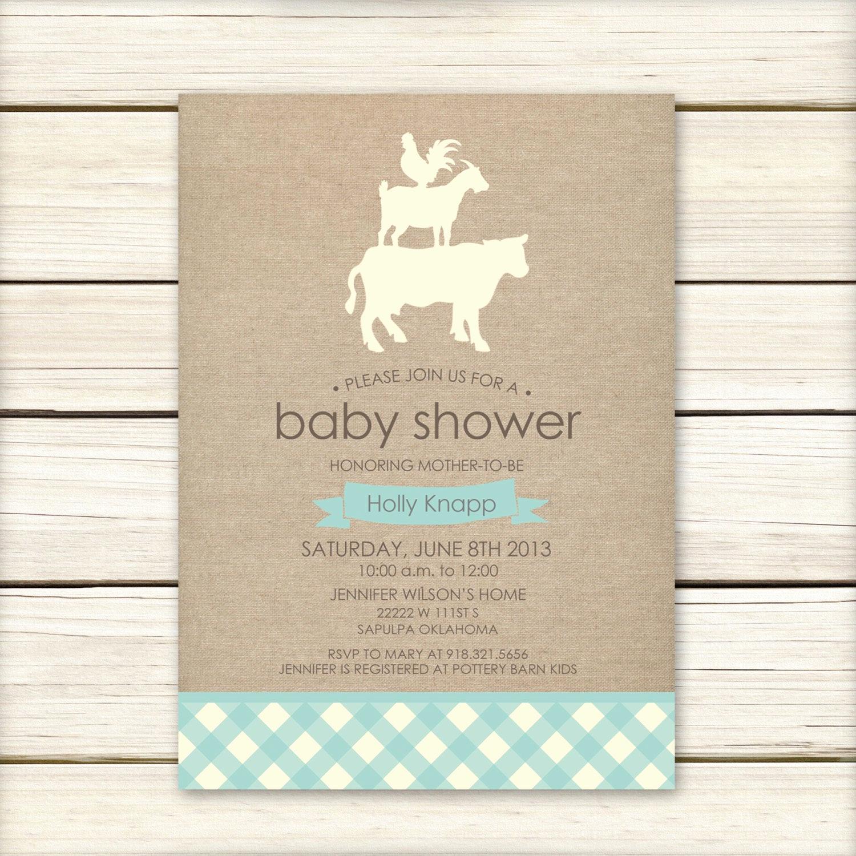 Baby Shower Invitation Pics Beautiful Farm Baby Shower Invitation Baby Shower Invitaiton Blue