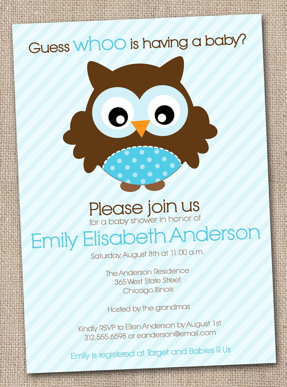 Baby Shower Invitation Pics Elegant Boys Baby Shower Invitation Blue Owl by Inkobsessiondesigns