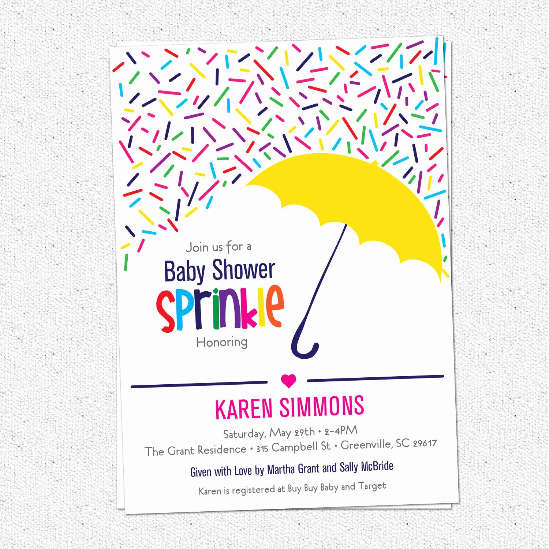 Baby Shower Invitation Pics Fresh Sprinkle Baby Shower Invitation Raining Rainbow Sprinkles and