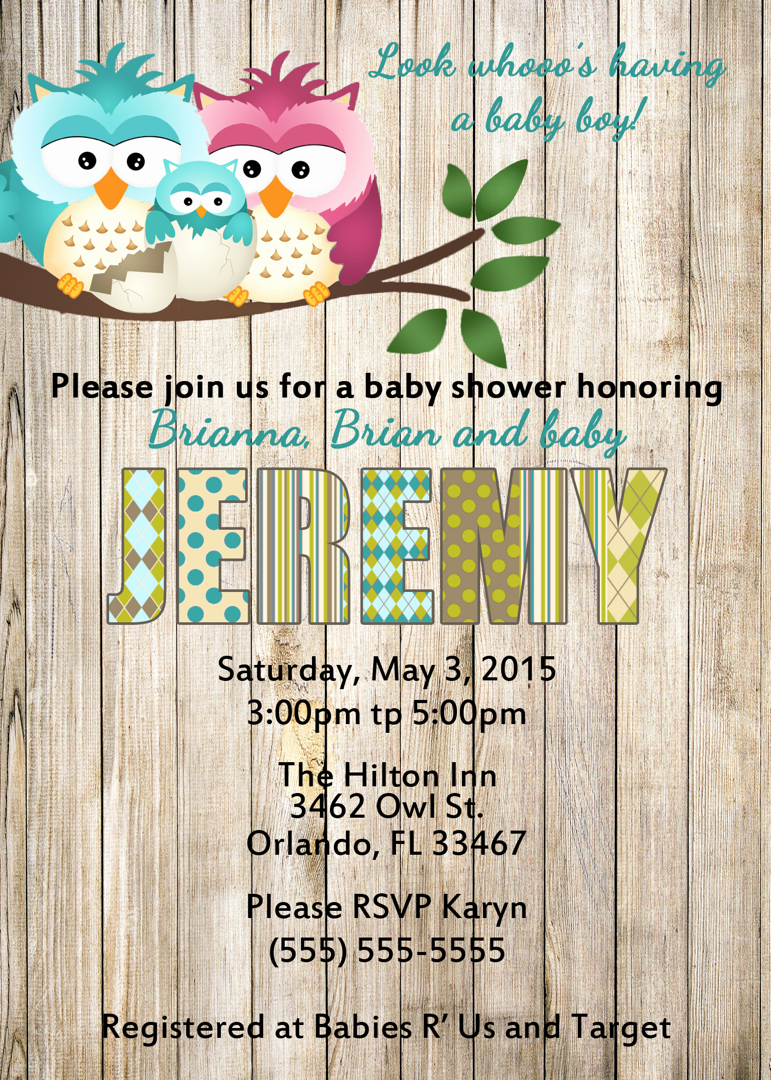 owl baby shower invitations