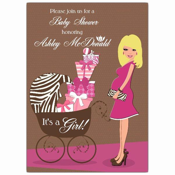 Baby Shower Invitation Pics Lovely Hot Mama Blonde Pink Baby Shower Invitations
