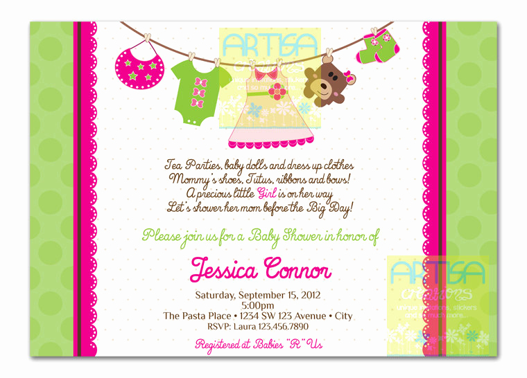 Baby Shower Invitation Pics New Girl Baby Shower Invitation Baby Girl Shower Invitation