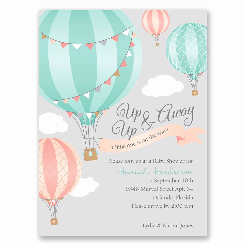 Baby Shower Invitation Pics New Up Up & Away Petite Baby Shower Invitation