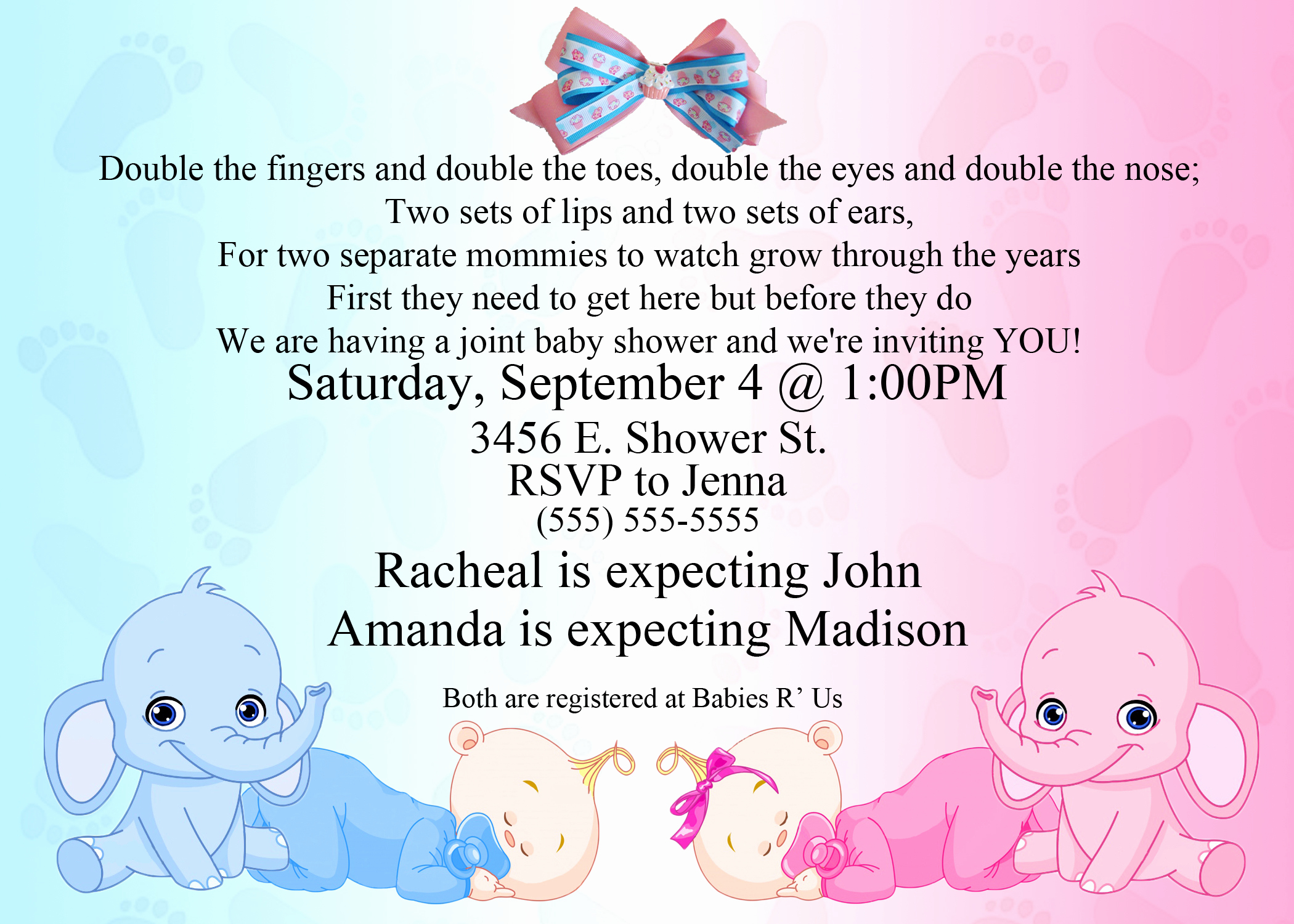 Baby Shower Invitation Pics Unique Dual Elephant Baby Shower Invitation