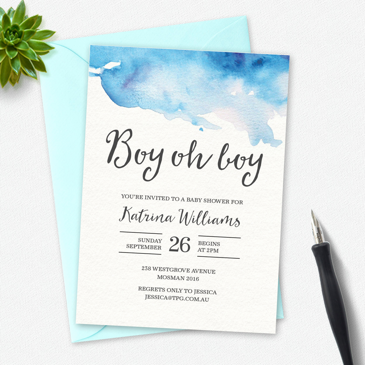 Baby Shower Invitation Pictures Beautiful Boy Baby Shower Invitation Boy Oh Boy Watercolor