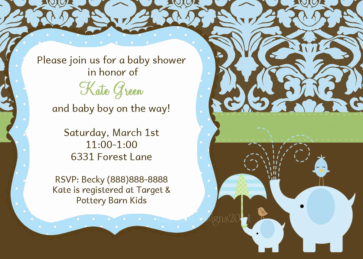 Baby Shower Invitation Pictures Fresh Baby Boy Shower Invitation Elephant Baby Shower Invitation