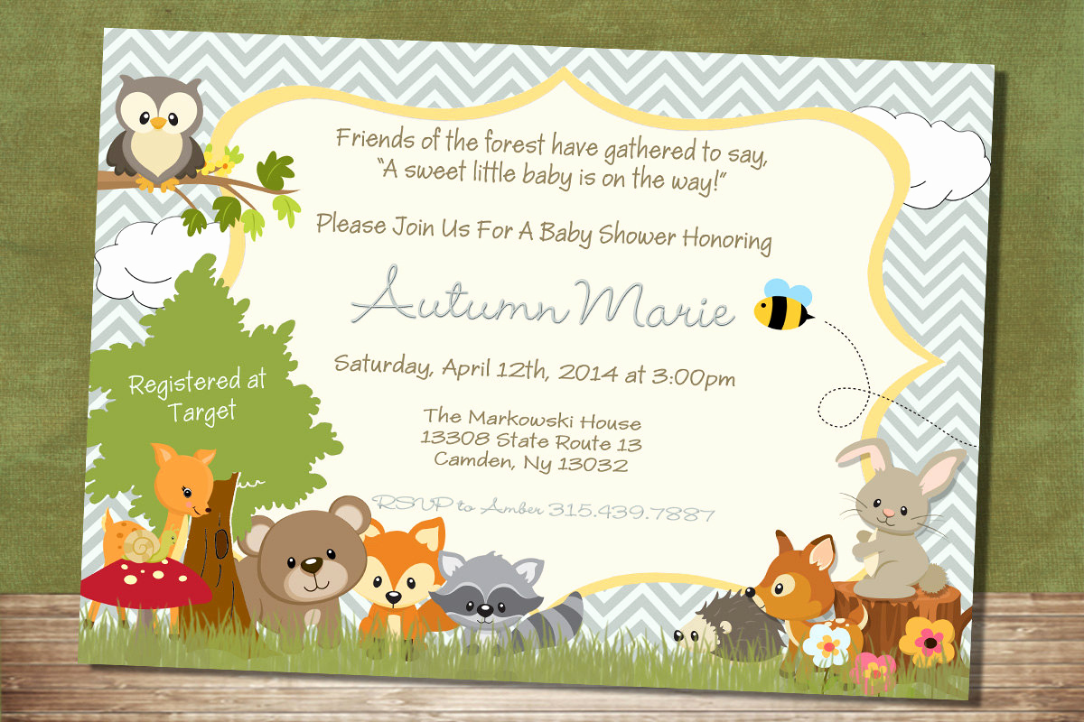 Baby Shower Invitation Pictures Inspirational Chevron forest themed Baby Shower Invitation Woodland Baby