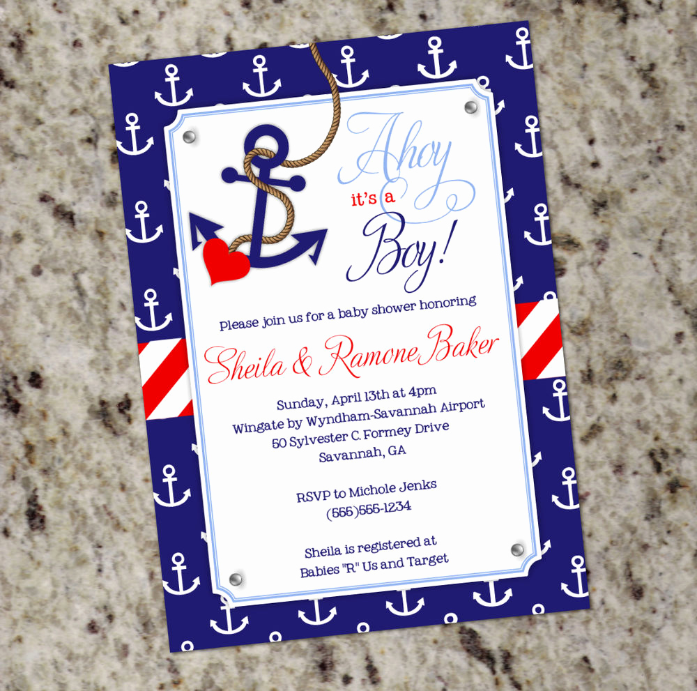 Baby Shower Invitation Pictures Lovely Ahoy It S A Boy Nautical themed Baby Shower Invitations