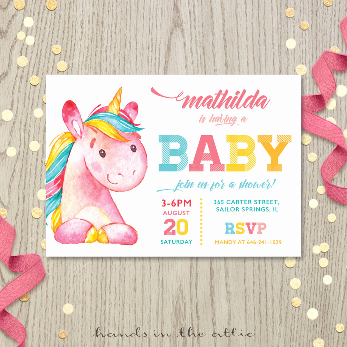 Baby Shower Invitation Pictures Unique Pink Unicorn Baby Shower Invitation