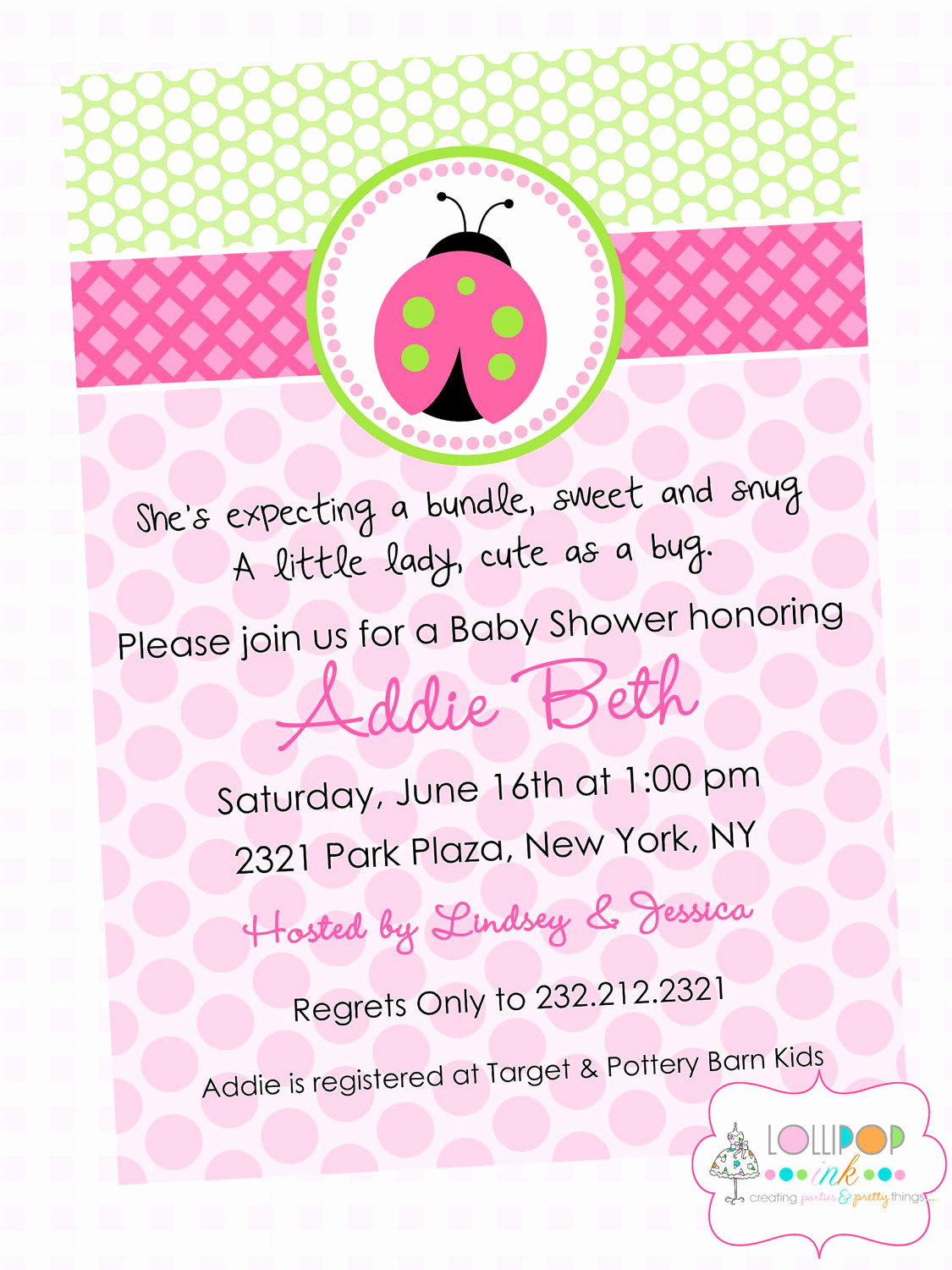 Baby Shower Invitation Poems Inspirational Pink Ladybug Baby Shower Printable Invitation by Lollipopink