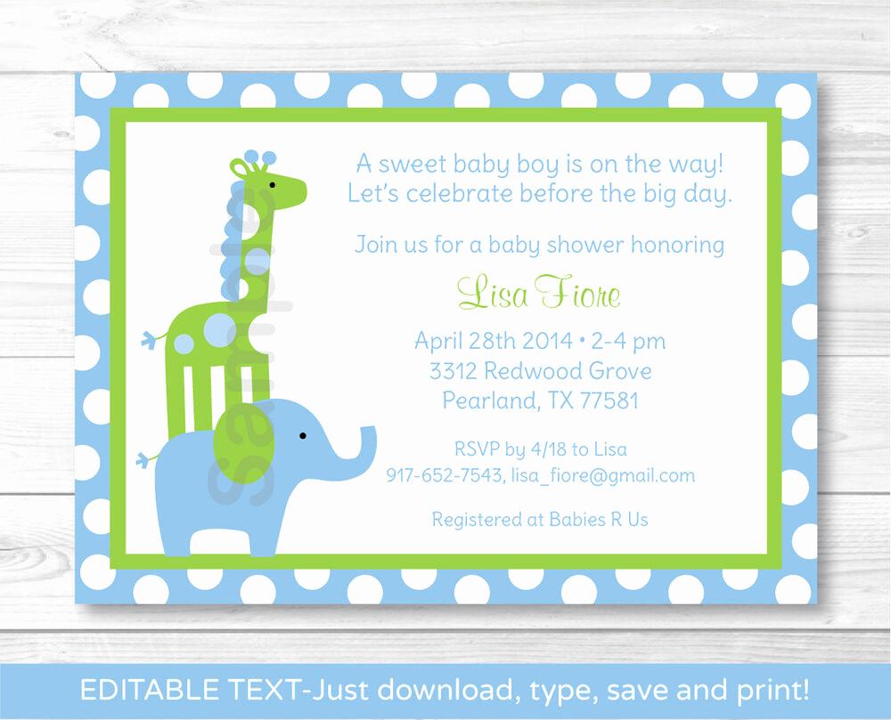 Baby Shower Invitation Printable Awesome Mod Elephant Giraffe Jungle Printable Baby Shower