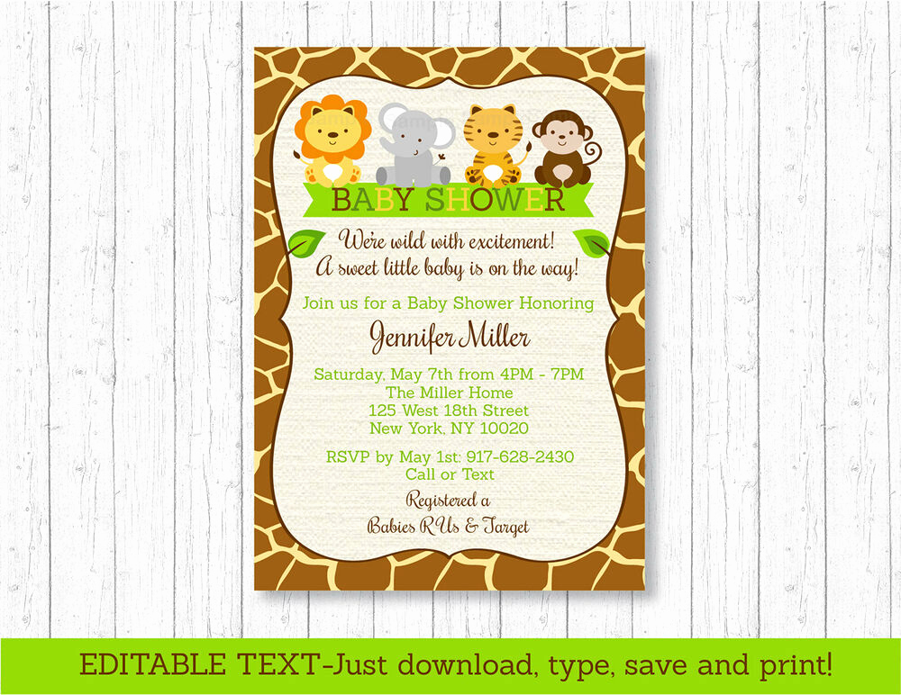 Baby Shower Invitation Printable Beautiful Cute Jungle Safari Animals Printable Baby Shower