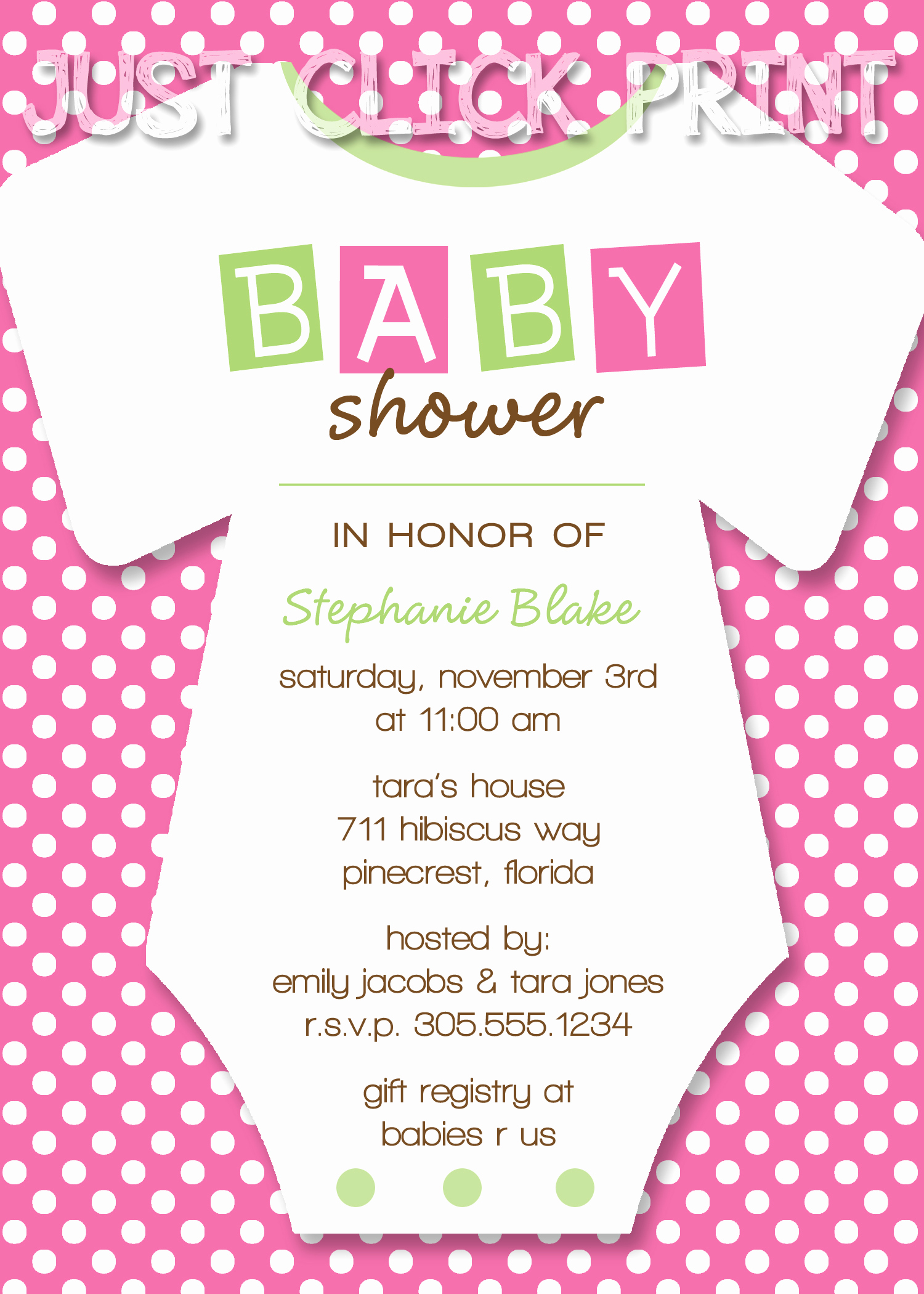 Baby Shower Invitation Printable Beautiful Esies Baby Shower Invitation Printable Any Color · Just