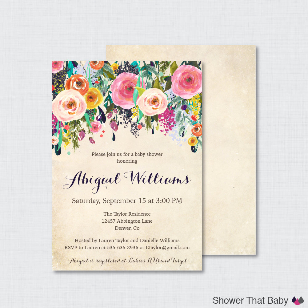 Baby Shower Invitation Printable Best Of Floral Baby Shower Invitation Printable or Printed Flower