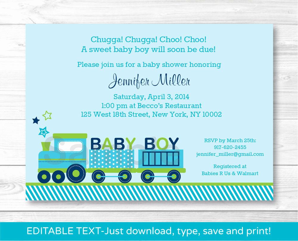 Baby Shower Invitation Printable Elegant Green Choo Choo Train Baby Boy Printable Baby Shower