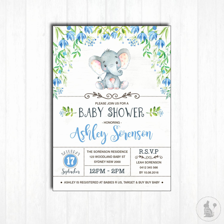 Baby Shower Invitation Printable Fresh Elephant Baby Shower Invitation Printable Baby Boy Woodland