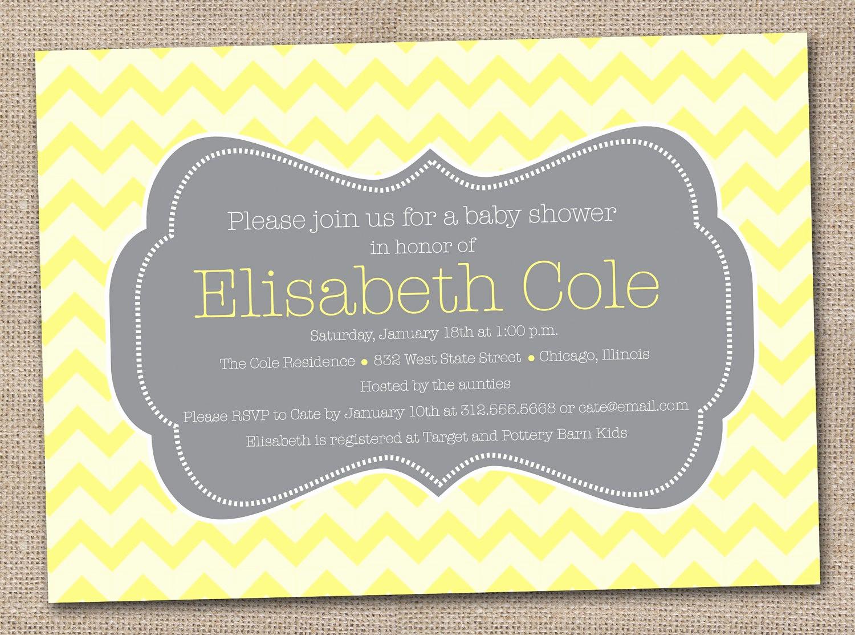 Baby Shower Invitation Printable Luxury Printable Baby Shower Invitations Yellow and Grey Chevron