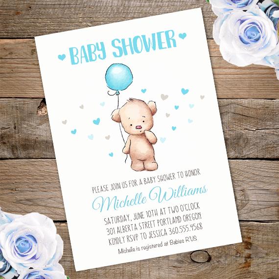 Baby Shower Invitation Printable New Teddy Bear Baby Shower Invitation Printable Edit with